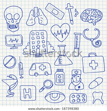 Doodle vector set : medical element, hand drawn illustration - stock vector