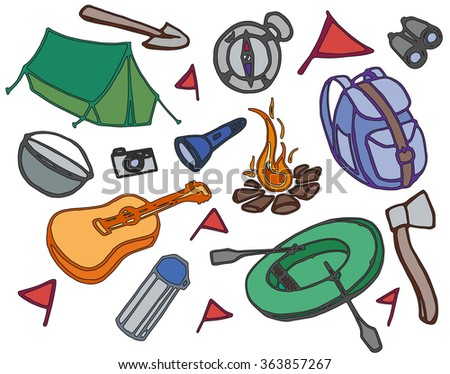 Doodle vector set of adventure, picnic, travel and camping theme.