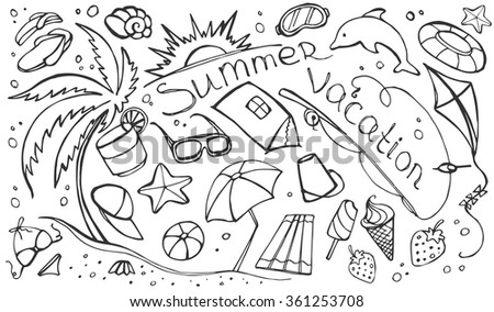 Doodle vector set of summer vacation, vector illustration, EPS 10 - stock vector