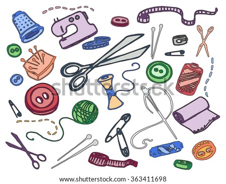 Doodle vector set of tailor business - stock vector