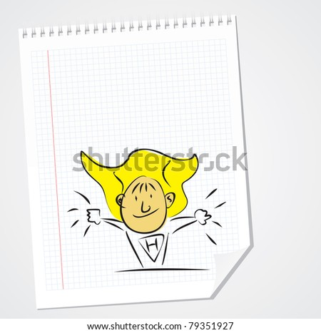Doodle Vector Super Hero on Paper - stock vector