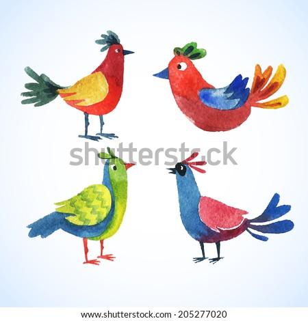 Doodle vector watercolor bird cute set for fun design - stock vector