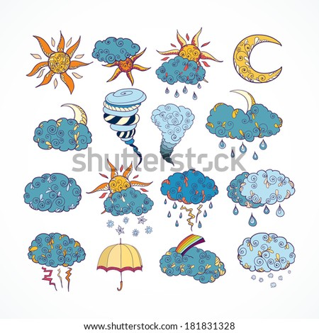 Doodle weather forecast color decorative design elements collection isolated vector illustration - stock vector