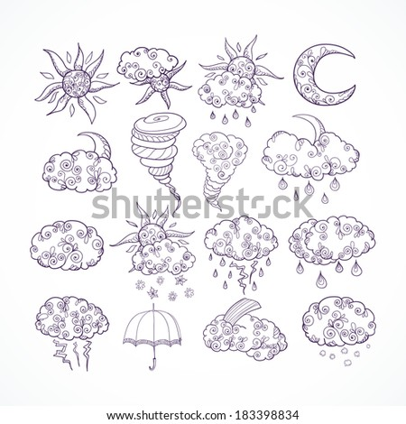 Doodle weather forecast decorative graphic symbols set sketch isolated vector illustration - stock vector