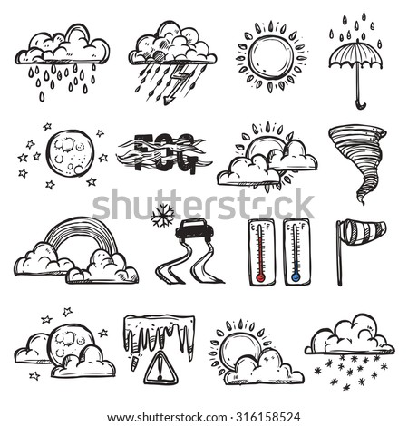 Doodle weather set with forecast and nature icons isolated vector illustration - stock vector