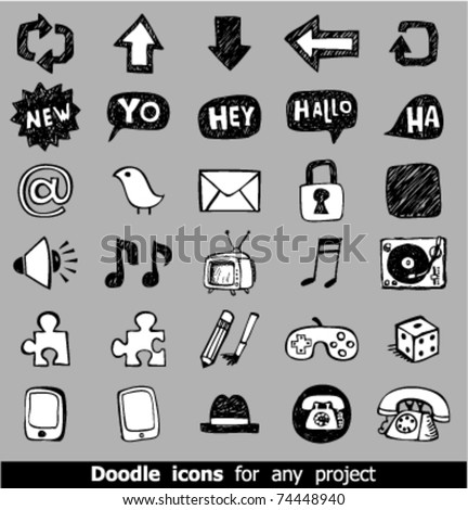 Doodle web icons - stock vector