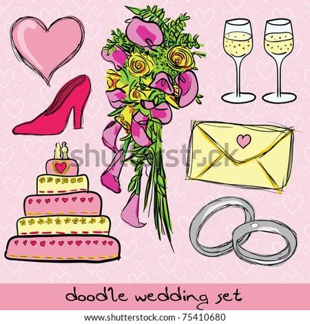 doodle wedding set - stock vector