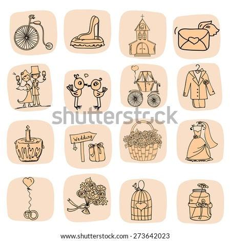 Doodle wedding set for invitation icons, including template design decorative elements - flowers, bride, groom, church, hearts