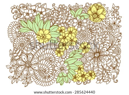 Doodle wild flowers for design on card or other backdrop - stock vector
