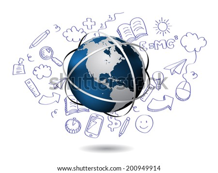 Doodle with globe - stock vector