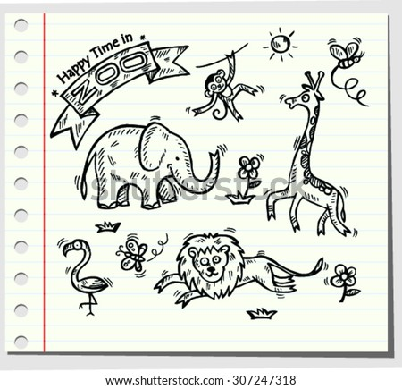 Doodle zoo, happy time vector illustration