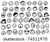 doodled funny stick figure faces - stock photo