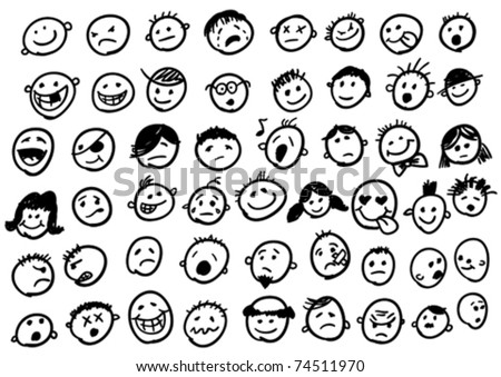 doodled funny stick figure faces - stock vector