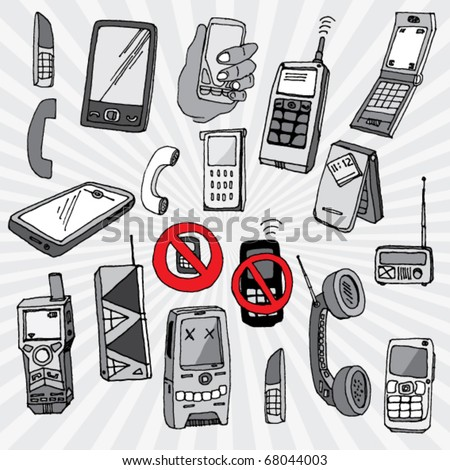 Doodled Mobile Phones and Other Devices - stock vector