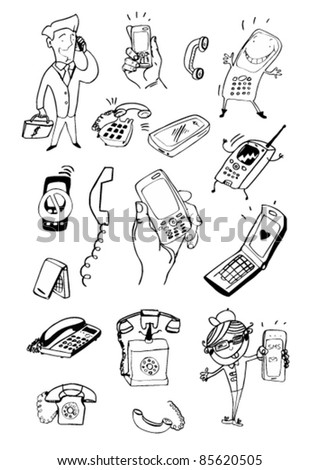 Doodled Mobile Phones and Other Devices Outline - stock vector