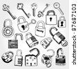 Doodled set of Different Locks and Keys - stock photo