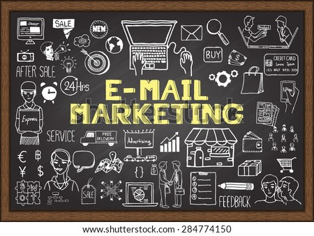 Doodles about E-MAIL MARKETING on chalkboard. - stock vector