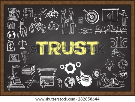 Doodles about trust on chalkboard. - stock vector