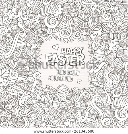 Doodles abstract decorative Easter vector frame. greeting card design - stock vector