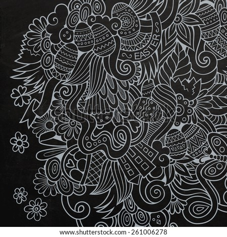 Doodles abstract decorative Easter vector sketch chalkboard background - stock vector