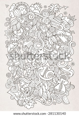 Doodles abstract decorative summer sketch vector background - stock vector