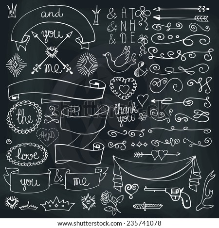 Doodles arrow,hearts,crown,love decor element set.For design template,invitation. Chalkboard background.Children hand drawing style. For wedding,Valentine day,holiday,Easter,birthday.Vector - stock vector
