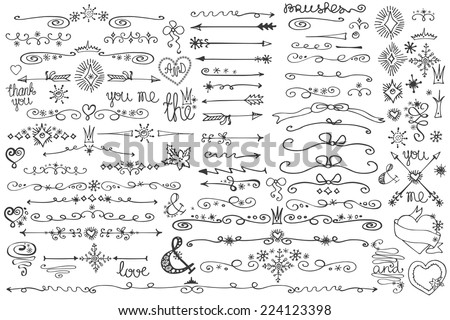 Doodles border,arrow,brushes,hearts,crown,love decor elements set.For design templates,invitations. Children's hand drawing style. For weddings,Valentine's day,holidays,menu,birthday.Winter Vector - stock vector