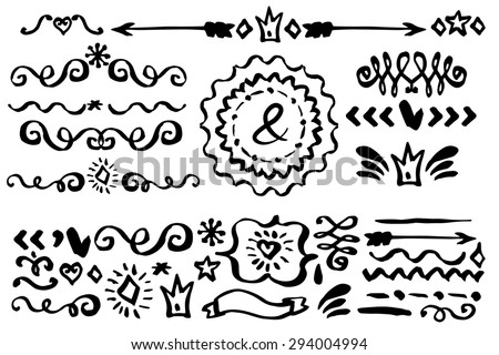 Doodles border,arrow,brushes,hearts,crown,love decor elements set.Ink hand drawing painting design templates,invitations. For weddings,Valentines day,holidays,baby design,birthday.Vector - stock vector