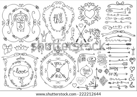 Doodles border,frame,arrow,brushes,hearts,crown,love decor elements set.For design templates,invitations.Children's hand drawing style.For weddings,Valentine's day,holidays,baby design,birthday.Vector - stock vector