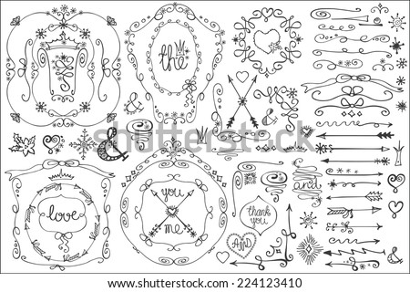 Doodles border,frame,arrow,snowflakes,hearts,crown,love decor elements set.For design templates,invitations.Children hand drawing style.For weddings,Valentine day,holidays,menu,birthday.Winter Vector - stock vector