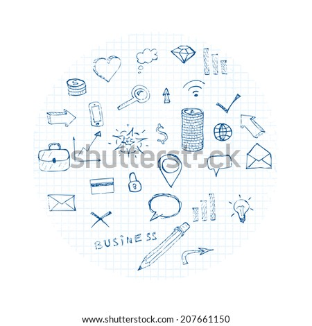 doodles business icons cloud. vector eps8 - stock vector