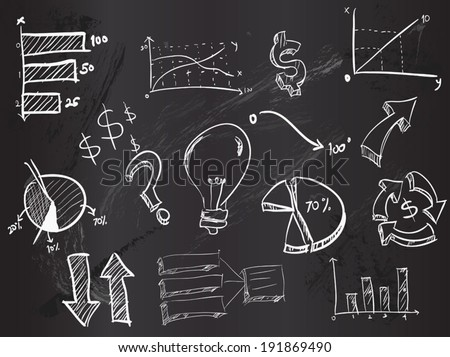 Doodles business on Blackboard - stock vector