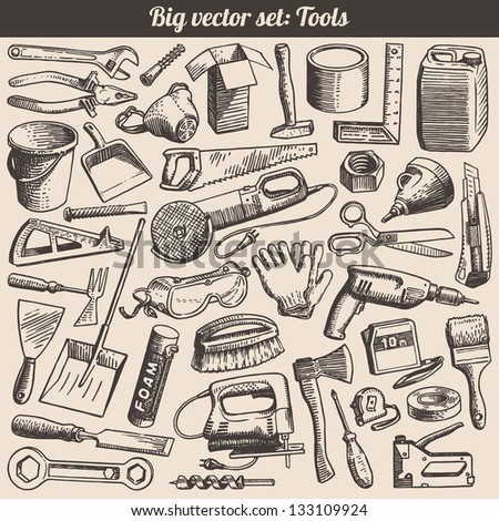 Doodles Collection Of Working Tools Instruments Vector - stock vector