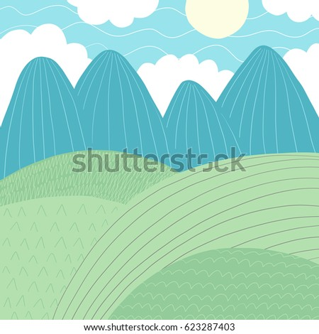 Doodles cute backdrop summer theme. Color vector poster. Illustration with mountains, sun, grass and clouds. Design for prints.