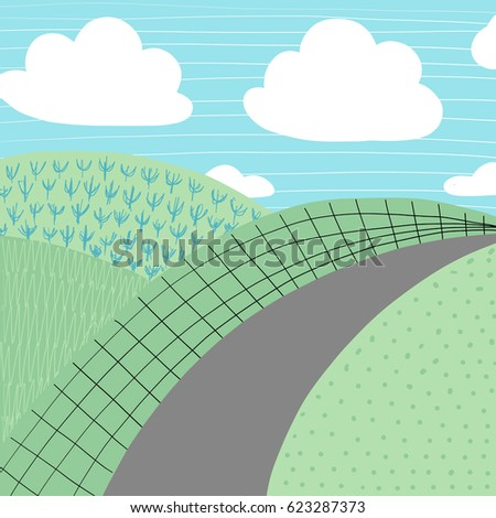 Doodles cute backdrop summer theme. Color vector poster. Illustration with sun, grass and clouds. Design for prints.