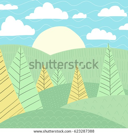 Doodles cute backdrop summer theme. Color vector poster. Illustration with trees, sun, grass and clouds. Design for prints.