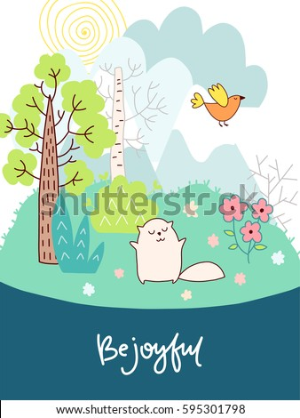 Doodles cute card, spring theme. Color vector poster with lettering. Illustration with bird, cat and flowers, trees and clouds. Design for prints.