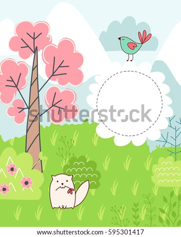 Doodles cute card, spring theme. Color vector poster with text bubble. Illustration with grass and cat, trees and flowers, mountains and bird. Design for prints.