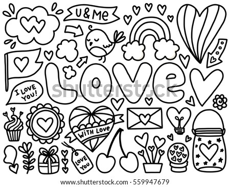 Doodles Cute Elements Black Vector Items Stock Vector 559947679