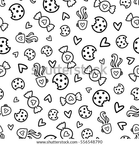 Doodles Cute Seamless Pattern Black Vector Background Illustration With Sweets Cookies And Coffee