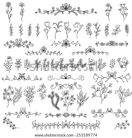 Doodles design elements. Flower decoration for invitation and scrapbooking. Set of 55 items. - stock vector