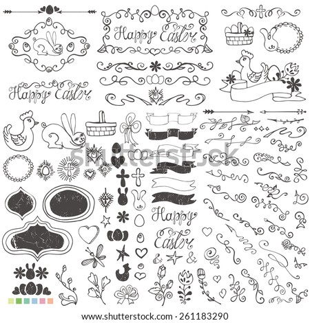 Doodles easter decor elements set.Hand sketched flowers,swirl border,budges,arrows,ribbons for hand sketched logo.Easy to make design templates,invitations,logo.Holidays,baby design.Vector - stock vector