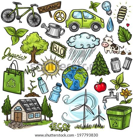 Doodles eco icon set - stock vector
