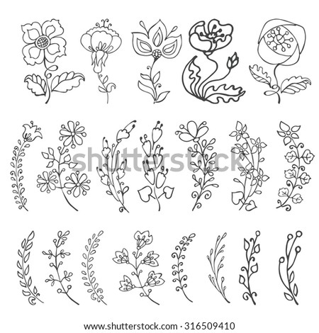 Doodles flowers and branches in pastel colors.Hand drawing decor elements.Isolated on white for greeting cards, Easter,birthday,wedding invitation ,pattern,scrapbooking.Retro vector illustration
