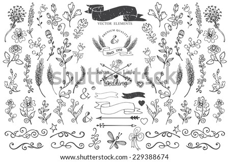 Doodles flowers,branches,border,decor elements,arrows,ribbons set for hand sketched  logo.Design templates,invitations,logo. For wedding,Valentines day,holidays,birthday,easter,mothers day.Cute Vector - stock vector