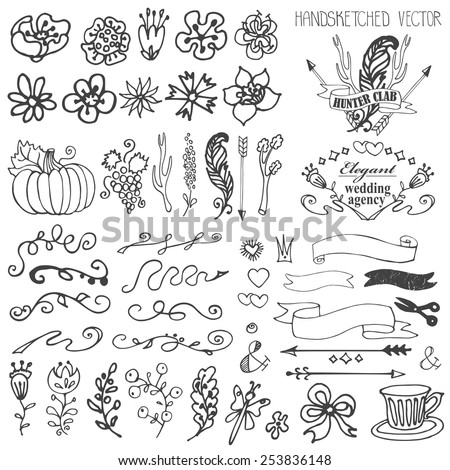 Doodles flowers,branches,swirl border,arrows,ribbons,decor elements set for hand sketched logo,design templates,invitations,logotype.For weddings,Valentines day,holidays,birthday,easter.Vintage Vector - stock vector
