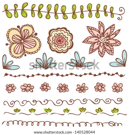 Doodles Flowers collection - stock vector