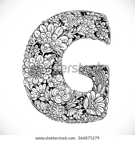 Doodles Font Ornamental Flowers Letter G Stock Vector