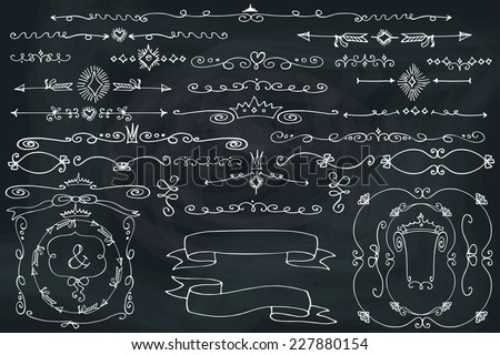 Doodles frame,border,arrow,ribbons,love decor elements set.For design templates,invitations.Hand sketched chalkboard. For weddings,Valentine's day,holidays,baby design,birthday.Vector - stock vector