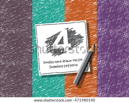 Doodles hand drawn abstract seamless pattern. Color vector illustration. EPS10